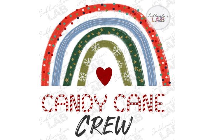 Christmas Candy Cane Crew Rainbow Sublimation Kids Design