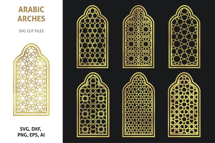 Arabic arches. Moroccan geometric designs, cut files