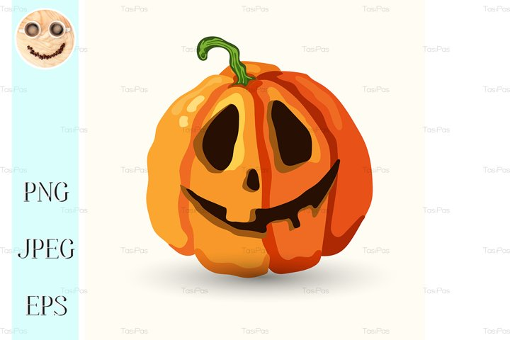 Halloween smiling spooky face pumpkin on white