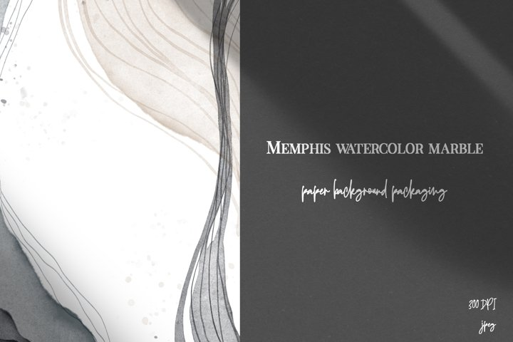 Watercolor marble liquid memphis background