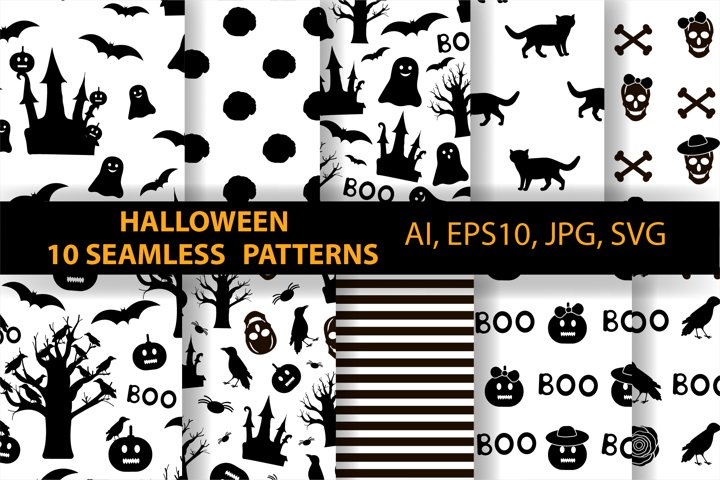 10 Halloween seamless patterns. Ai, EPS10, JPG, SVG