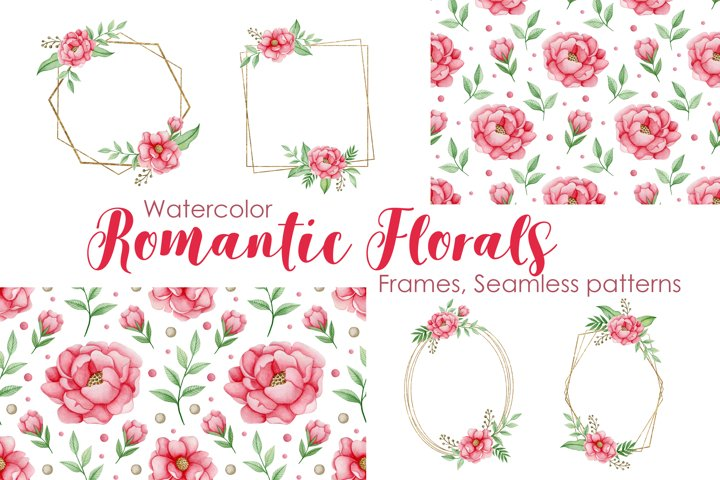 Watercolor Romantic Florals Frames