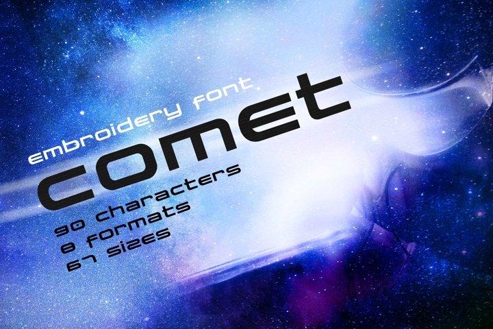 Comet Modern Futuristic Embroidery Font, Techno Font