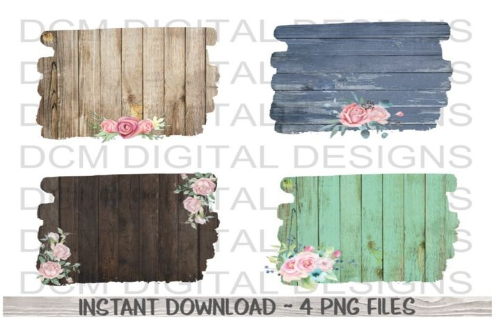 Rustic Wood Floral Backgrounds sublimation PNG designs