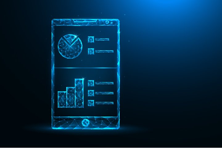 Smartphone and analytical data low poly art.