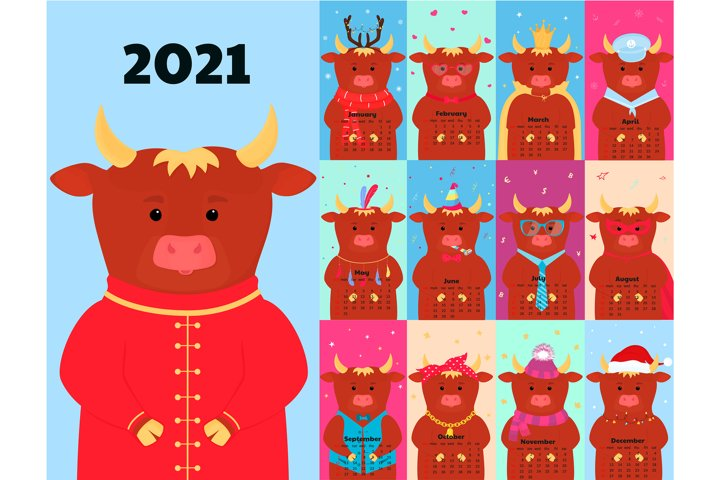 Calendar for 2021 with funny ox in a variety of costumes.