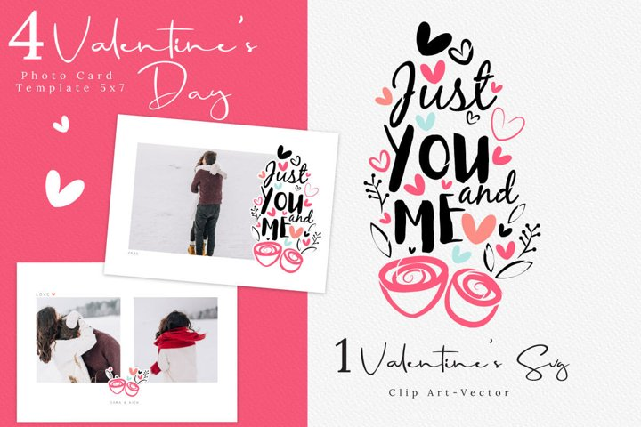 Valentines Day Photo Card Template, Love Calligraphy SVG