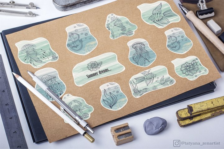 Marine stickers clipart collection SVG example 4