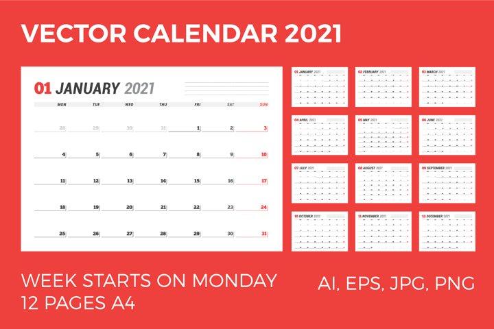 Vector Calendar 2021