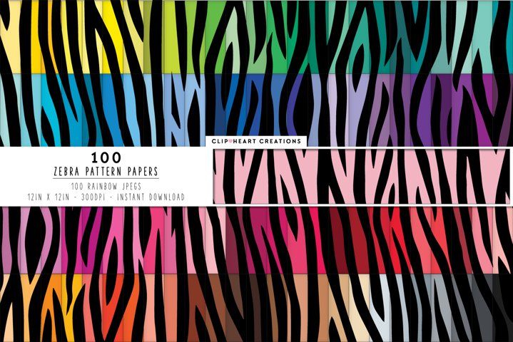 100 Zebra Print Pattern Digital Papers - rainbow colors