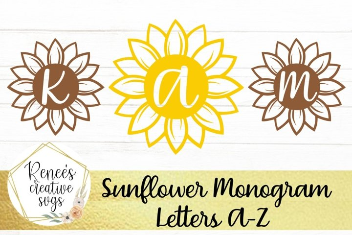 Sunflower Monogram Letters| Flower SVG| SVG Cutting File