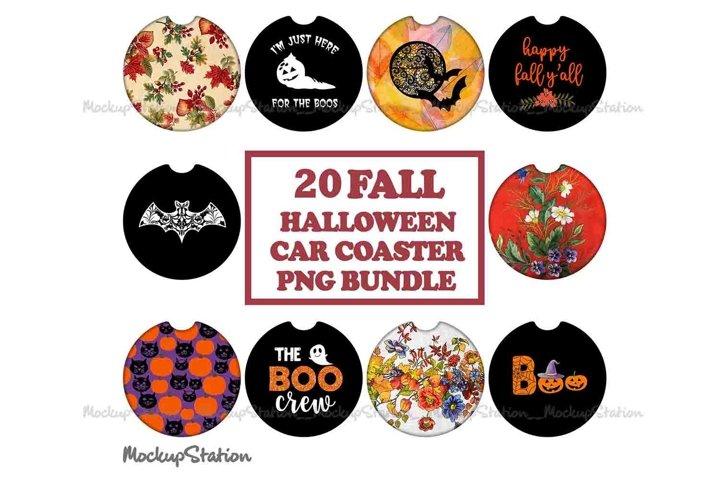 Fall Car Coaster Sublimation PNG Bundle, Halloween Key Chain