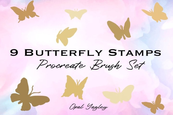 9 Butterfly Procreate Brush Stamps / Butterflies Silhouette