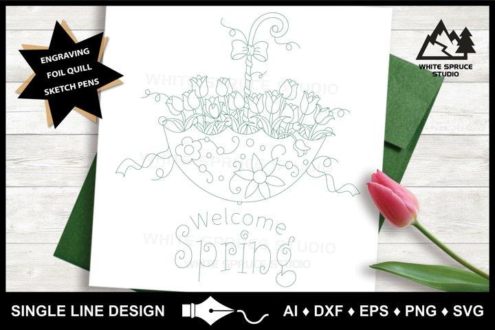 Single Line Design, Foil Quill, Engraving, Spring Tulip SVG