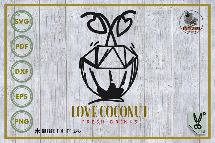 Fruit svg, coconut svg, coconut line art, cut file