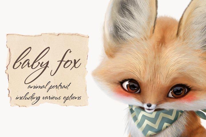 Baby fox clip art set, PNG, PSD