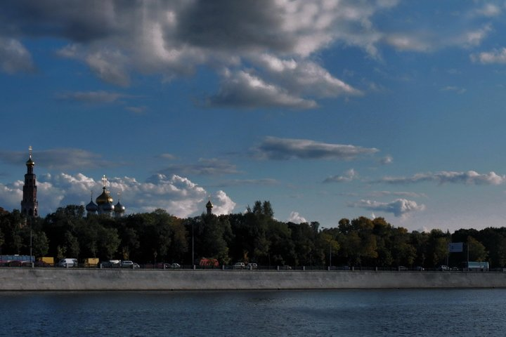 Novodevichy Convent, panorama, embankment, Russia, Moscow,