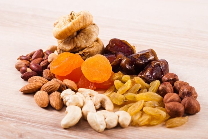 Dried fruits and nuts heaps