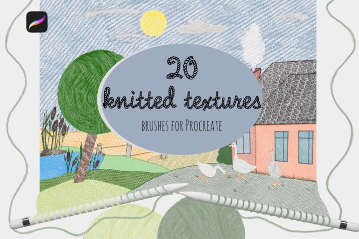 20 knitted textures. Set of brushes for Procreate.