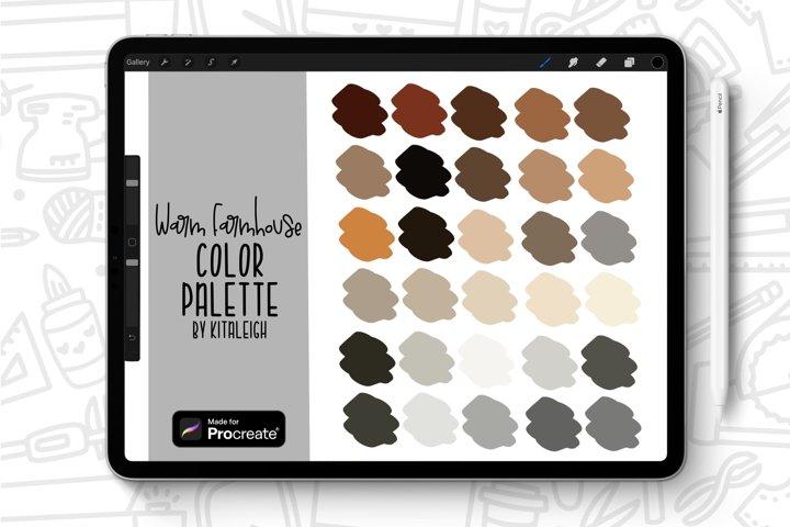 Warm Farmhouse Procreate Color Palette Swatch