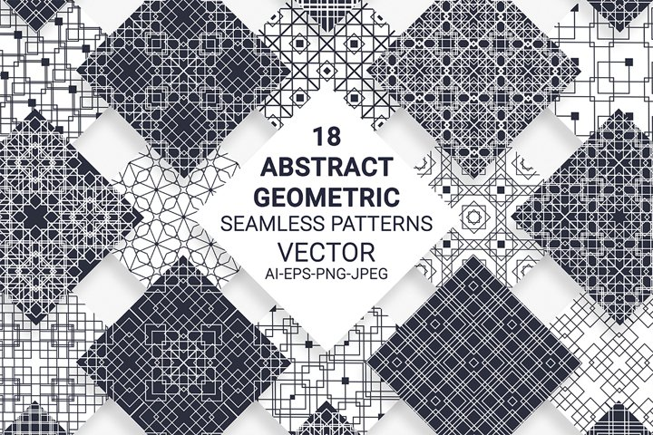 18 Abstract Geometric Seamless Patterns. Hand Drawn Vector.