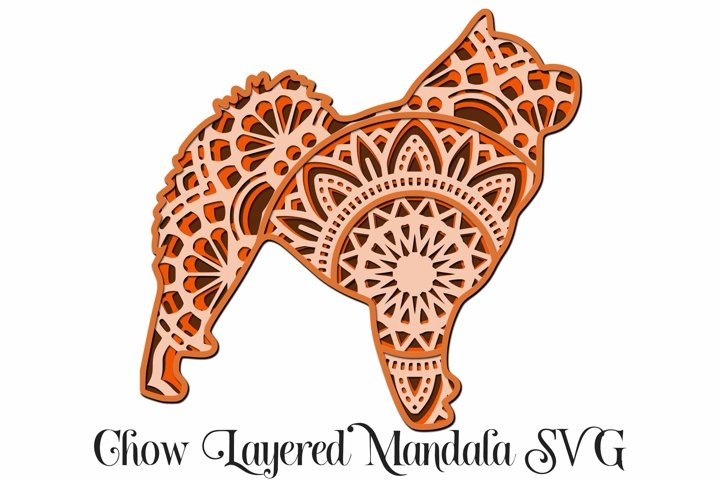 Chow Layered Mandala SVG - 4 Layers Dog Breed SVG