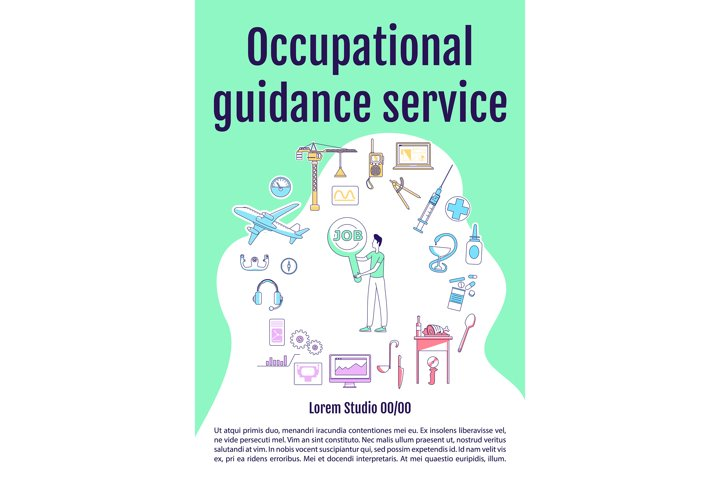 Occupational guidance service poster vector template