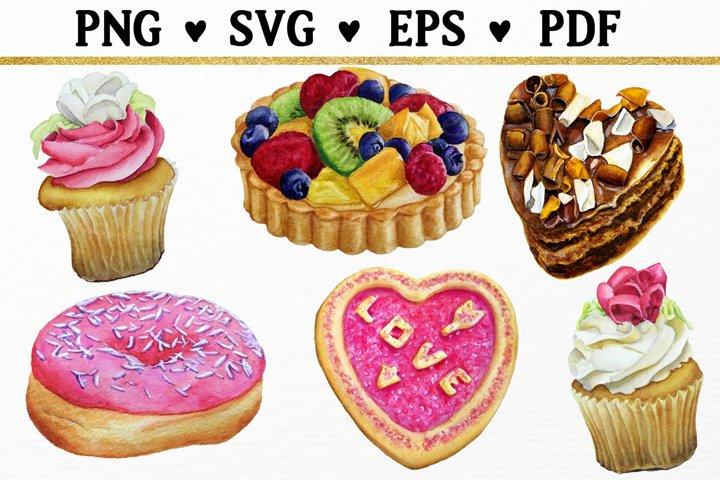 Dessert Clipart Watercolor Cake, Donut, Cupcake SVG