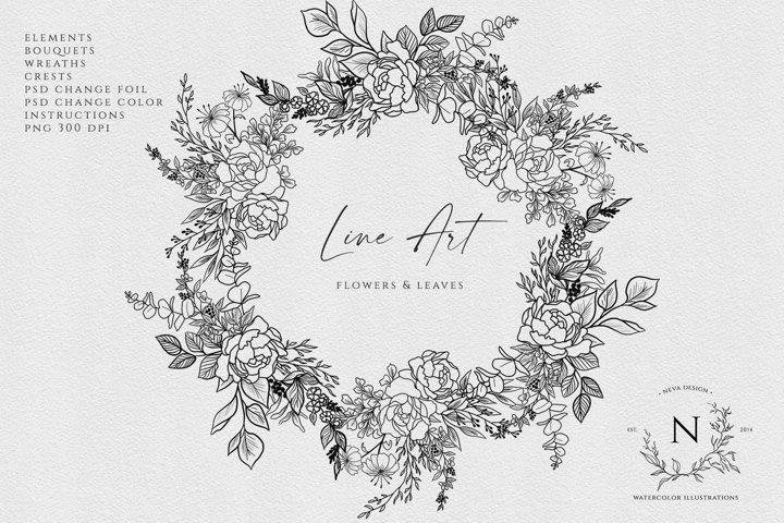 Line Art Floral clipart