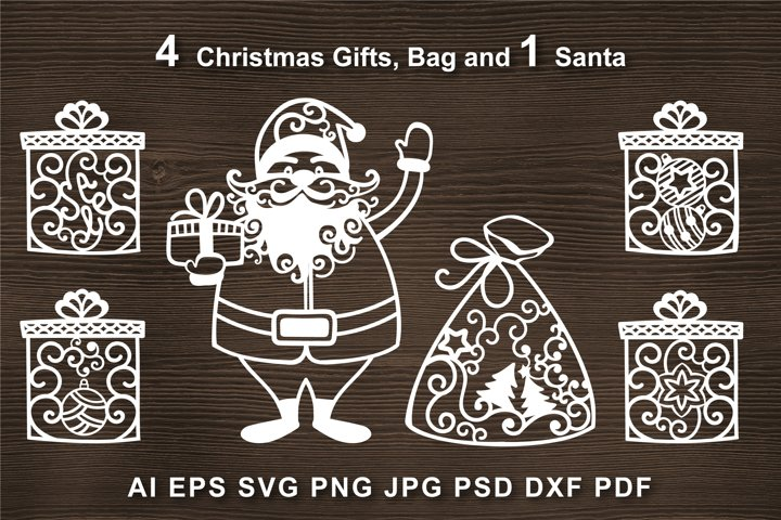 Santa SVG Cut file for Crafters. Gifts, Christmas bag