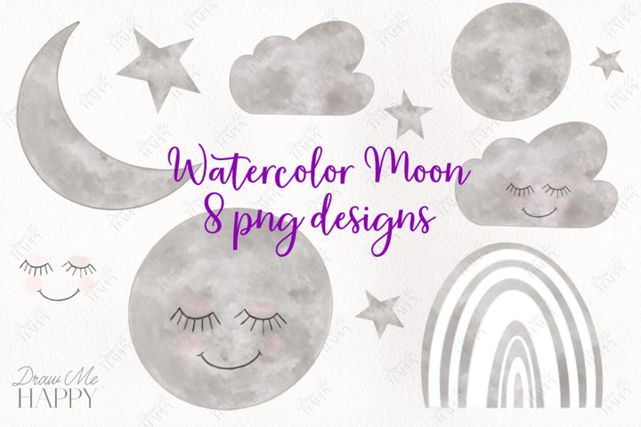 Watercolor Moon Clipart, Cloud Clipart, Star, Rainbow