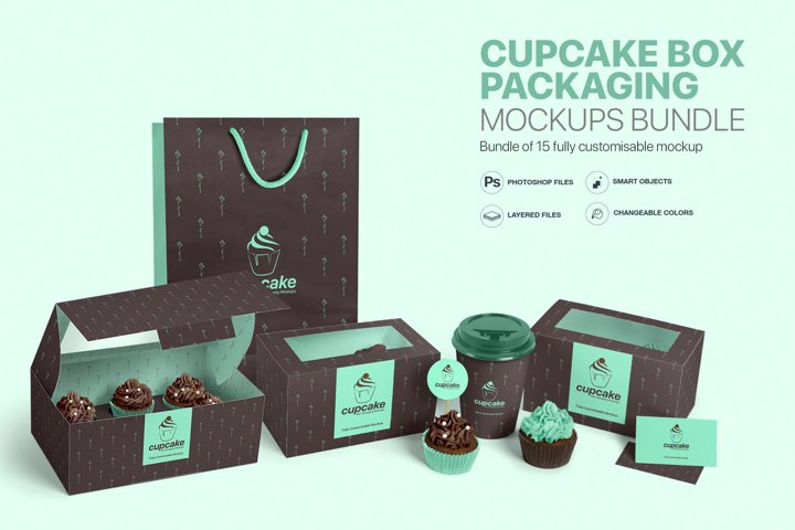 Cupcake Box Packaging Mockups Bundle