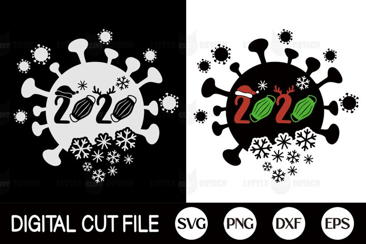 2020, Pandemic Christmas SVG, Covid Mask PNG, Holiday DXF