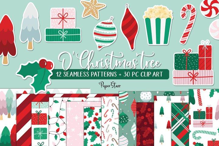 Seamless Christmas Digital Paper Clipart Set