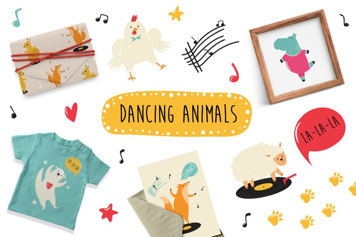 Dancing Animals. Cute Animal Characters. SVG, PNG, EPS.