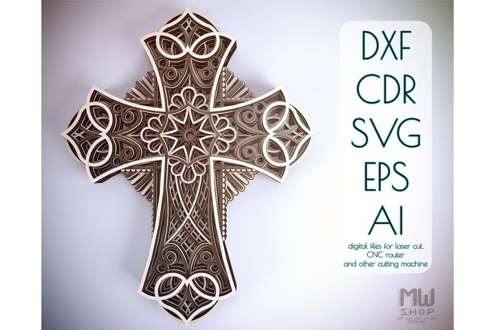 Cr05 - Multilayer Cross, Laser cut Cross, Cricut Cross SVG