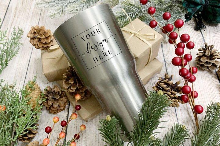 Christmas Tumbler Mockup In Rustic Farmhouse Insulated Mug