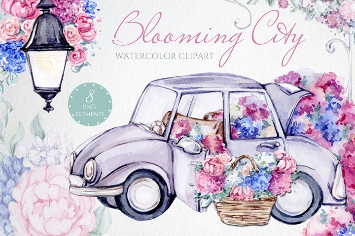 Bloom Flower City Watercolor clipart