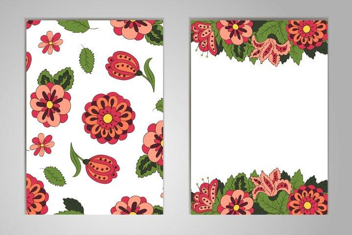 Set cards on birthday, holiday, wedding. Floral motifs