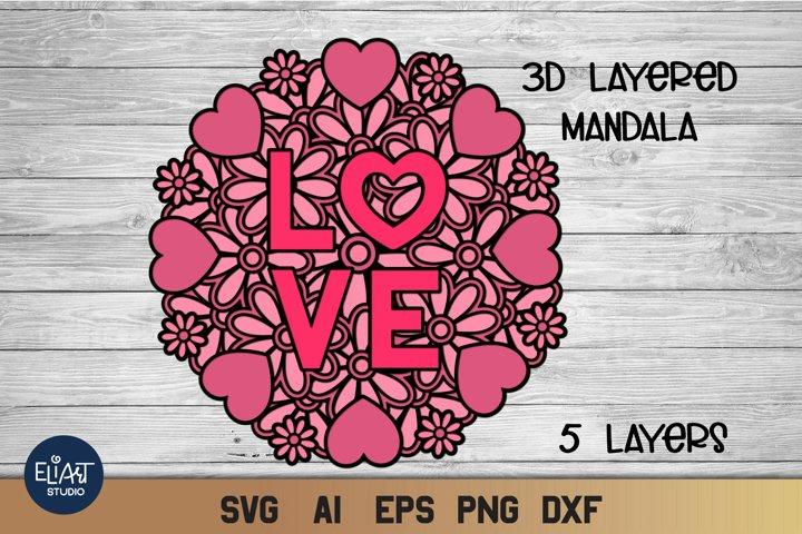Valentines SVG | 3d Layered SVG Heart Mandala | Cut File