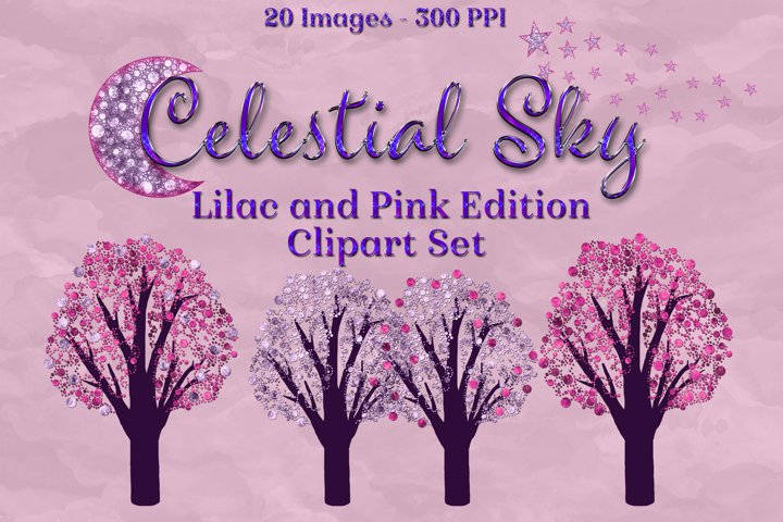 Celestial Sky Lilac and Pink Edition Clipart Set Moon Star