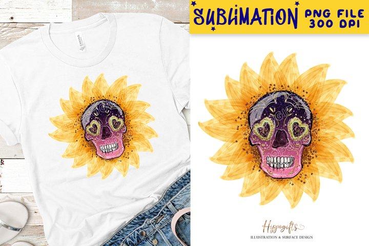 Sunflower skeleton sublimation design