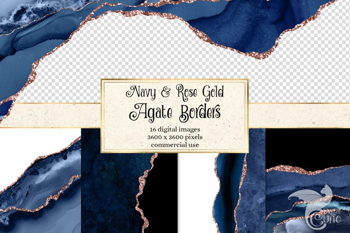 Navy and Rose Gold Agate Borders