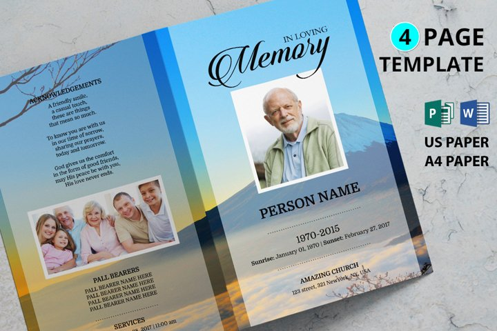 Mountain Funeral Program Template , Ms word and publisher
