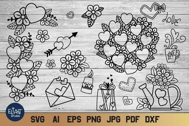 Valentines Day SVG Doodles | Valentine SVG | 18 Elements