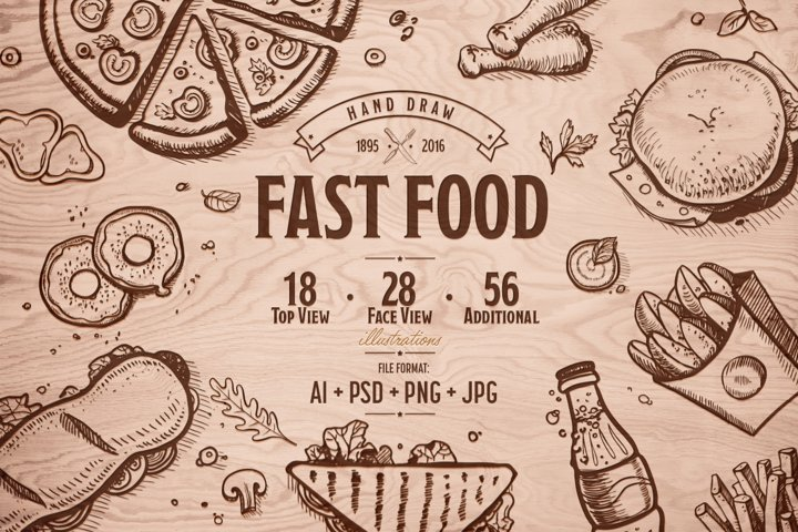 Fast Food Hand Draw Illustration Set