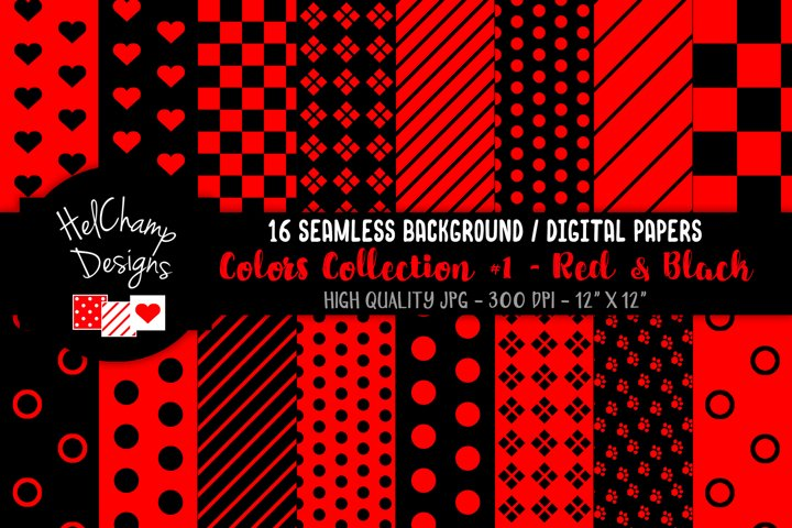 16 seamless Digital Papers - Red and Black - HC049