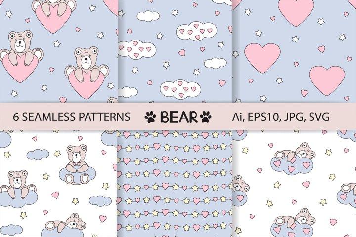 Bear digital paper, baby digital paper, cute bear seamless