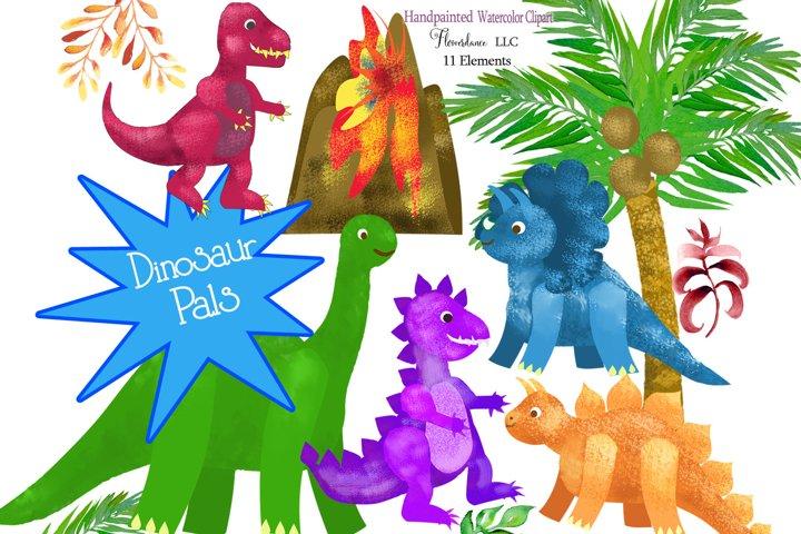 Watercolor Dinosaur Clipart, Sublimation PNG, Transparent