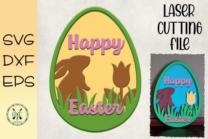 Laser Cutting File Easter Sign Layered Easter Egg Laser SVG